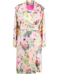 MSGM Двубортное Пальто Оверсайз С Цветочным Принтом - Розовый