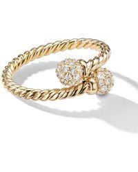 David Yurman 18kt Yellow Gold Solari Bypass Diamond Ring - Multicolour