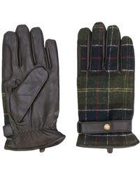 Barbour チェック手袋 - ブラック
