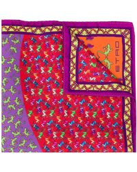 Etro Printed Pocket Square - Purple