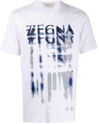 Z Zegna T-Shirt mit Distressed-Logo - Weiß