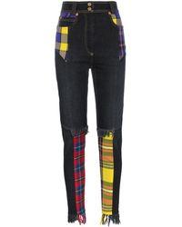 Versace High Waisted Plaid Patch Cotton-blend Jeans - Black