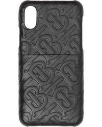 Burberry Monogram Leather Iphone X/xs Case - Black