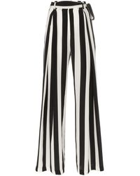 We Are Leone Tie Waist Striped Silk Pants - Black