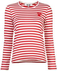 Play Comme des Garçons - Embroidered Heart Striped T-shirt - Lyst