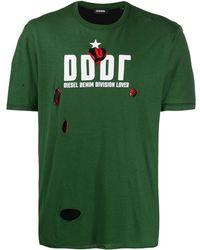 DIESEL Destroyed Tシャツ - グリーン