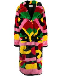 Kirin Abstract-print Faux Fur Coat - Red