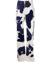 Off-White c/o Virgil Abloh Cow-print Straight-leg Jeans - Blue