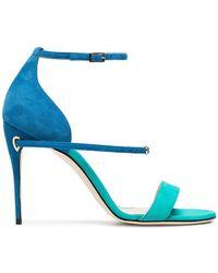 Jennifer Chamandi - Blue And Green Rolando 105 Suede Sandals - Lyst