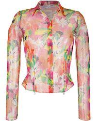 Dior Полупрозрачная Рубашка 2003-го Года С Цветочным Принтом Pre-owned - Розовый