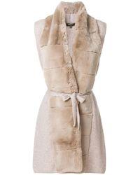 N.Peal Cashmere Long Fur Placket Cashmere Gilet - Natural