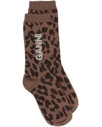 Ganni Leopard-pattern Logo Socks - Brown