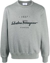 Ferragamo Толстовка С Вышитым Логотипом - Серый