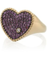 Yvonne Léon 18k Yellow Gold And Pink Diamond And Sapphire Heart Ring - Metallic