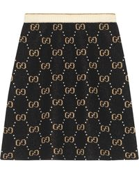 Gucci GG Pattern Knit A-line Skirt - Black