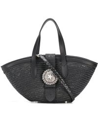 KATE CATE P3 Straw Tote Bag - Black