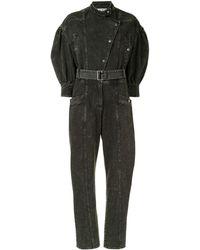 Sea ベルテッド デニム ジャンプスーツ - ブラック