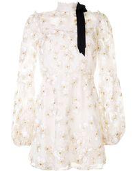 Macgraw Corsage Embroidered Organza Mini Dress - White