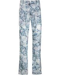 KANGHYUK Printed Straight-leg Pants - Blue