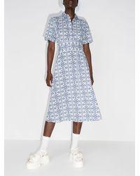 Evi Grintela Vestido midi con motivo de azulejos