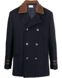 Brunello Cucinelli Double-breasted Shearling & Corduroy Peacoat - Blue