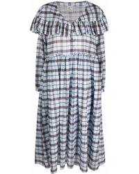 L'Autre Chose Tartan Ruffled Midi Dress - Blue