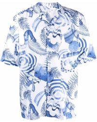 Sunspel プリント ショートスリーブシャツ - ホワイト