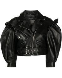 Simone Rocha Cropped Leather Jacket - Black