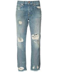 NSF - Distressed Cropped Jeans - Lyst