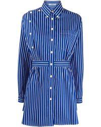Prada Короткое Платье-рубашка В Полоску - Синий