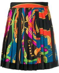 Versace プリントシルクツイルミニスカート - ブラック