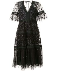 Needle & Thread Embellished Short Sleeve Dress - Black