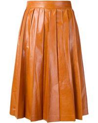 Bottega Veneta Shiny Pleated Leather Skirt - Orange