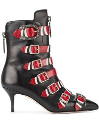 Gucci Buckled Printed Leather Ankle Boots - Black