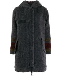 Mr & Mrs Italy Flared Faux-shearling Coat - Grey