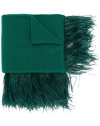 N°21 Fringed Knitted Scarf - Green
