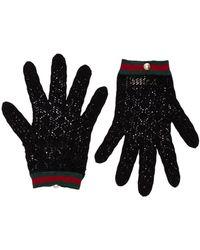 Gucci Декорированные Перчатки В Технике Кроше - Черный