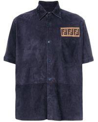 Fendi - Ff Logo Suede Shirt - Lyst