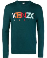KENZO Logo Embroidered Sweater - Green