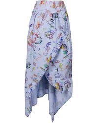 Vivienne Westwood Anglomania Printed Asymmetric Midi Skirt - Blue