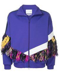 Yoshio Kubo Fringe-trimmed Zip-up Sweatshirt - Purple