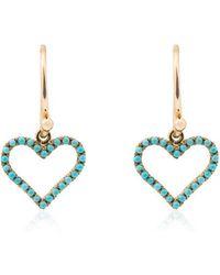 Rosa De La Cruz - Turquoise Heart Gold Earrings - Lyst
