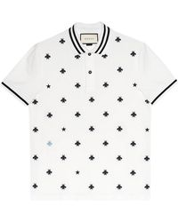 2bb42dcb5 Gucci Cotton Polo With Bees And Stars in Blue for Men - Save 17% - Lyst