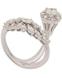 YEPREM 18kt White Gold Diamond Cluster Ring - Metallic