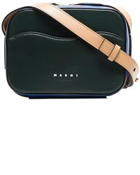 Marni - Green, Blue And Beige Tricolour Camera Leather Shoulder Bag - Lyst
