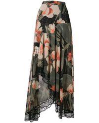 Twin Set - Lace Trim Floral Maxi Skirt - Lyst