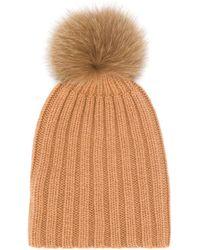 Danielapi Pom-pom Ribbed Knit Hat - Brown