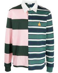 Lanvin Рубашка Поло В Асимметричную Полоску - Зеленый