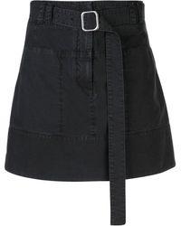 PROENZA SCHOULER WHITE LABEL ベルテッド Aラインスカート - ブラック