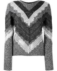 Giambattista Valli Lace-trim Chevron Sweater - Gray